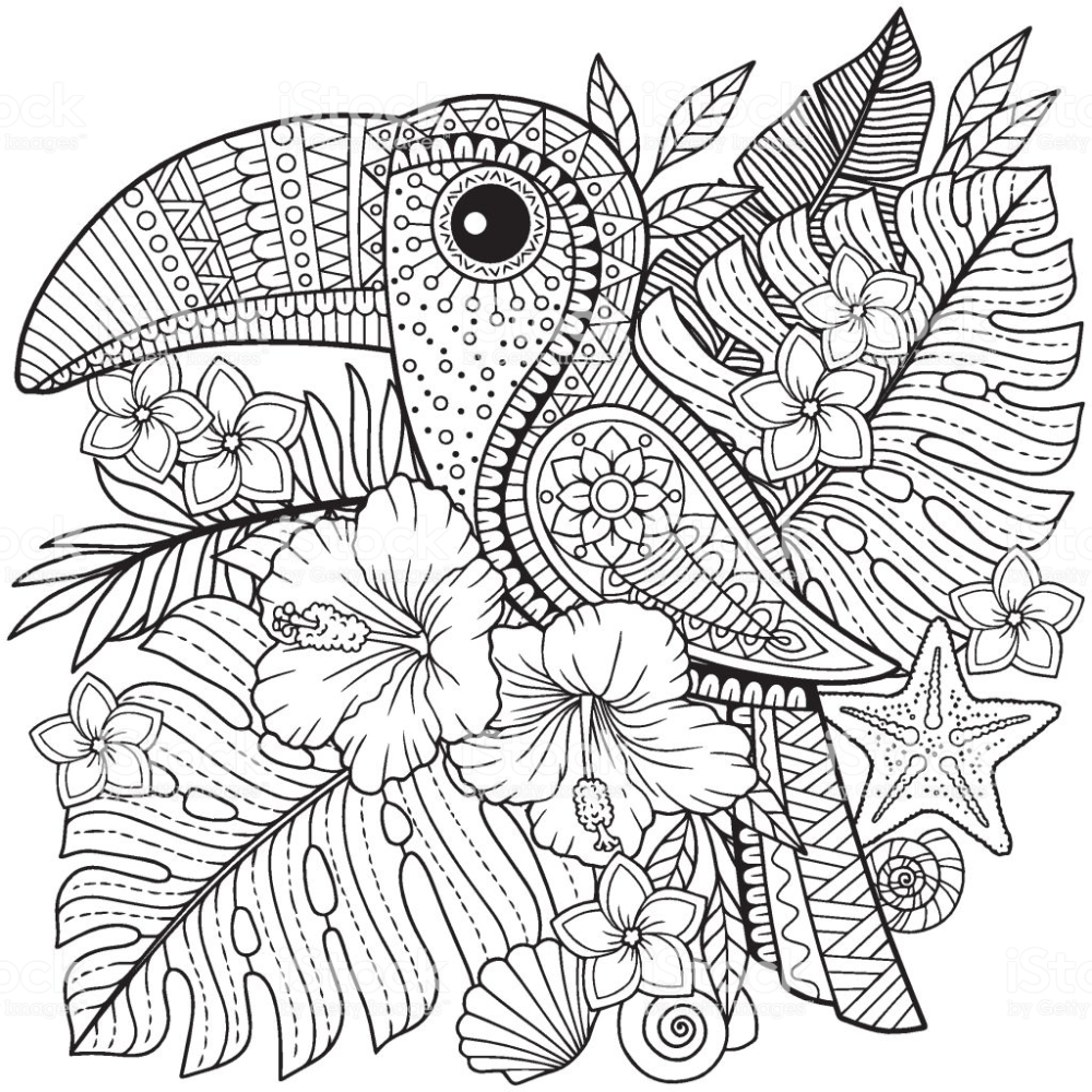 Coloring Book For Adults Toucan Among Tropical Leaves And Flowers Bird Coloring Pages Mandala Coloring Pages Coloring Books