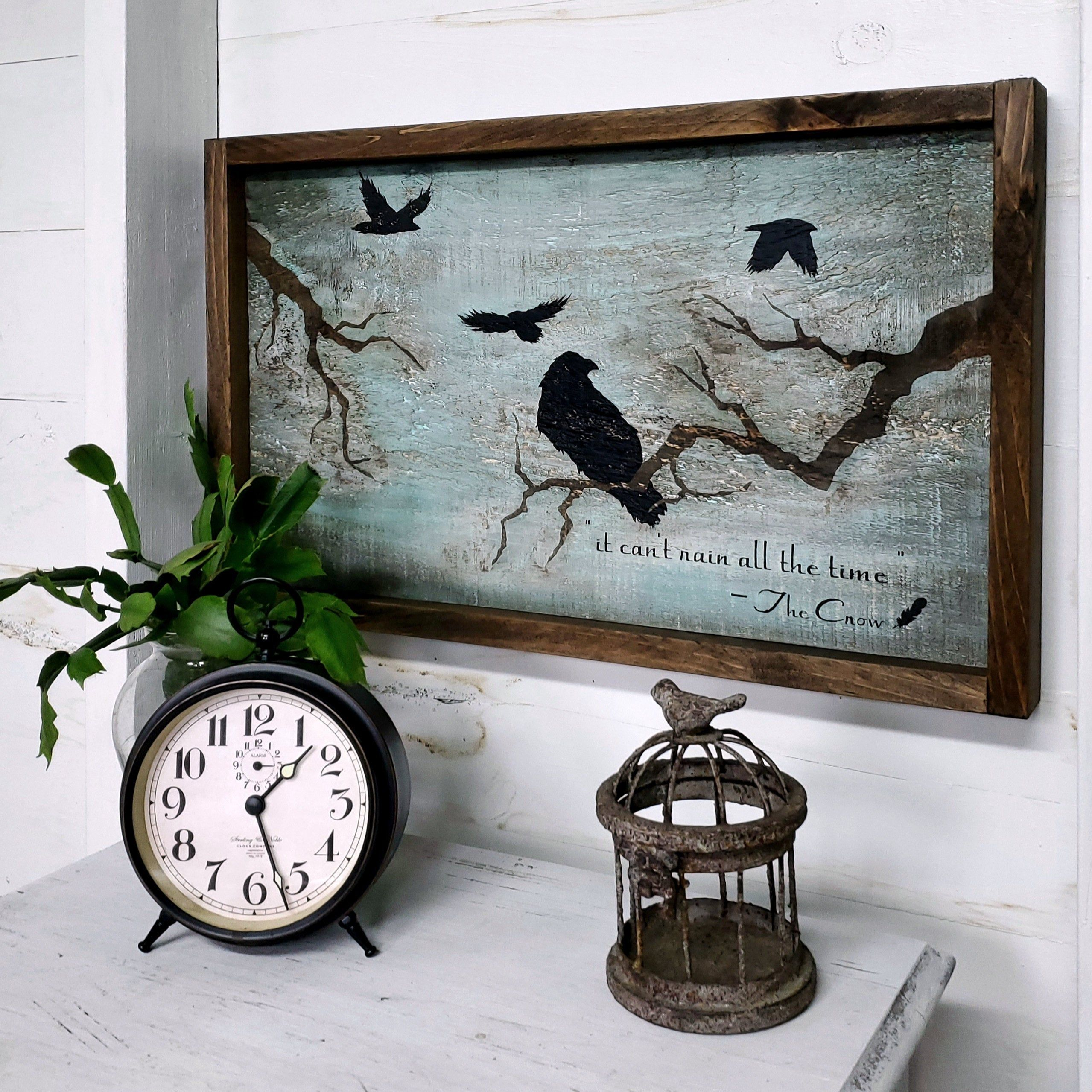 Vintage Style Crow Painting Reclaimed Wood Wall Art Rustic Etsy Farmhouse Wall Decor Reclaimed Wood Wall Art Handmade Wall Decor