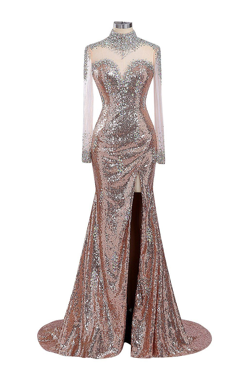 Fanciest womenus high neck sequin long evening dresses with sleeves