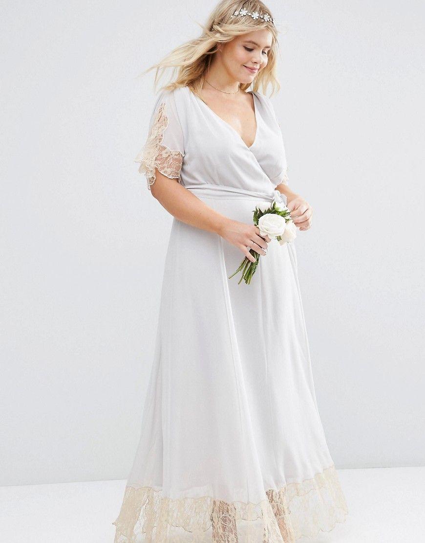 ASOS CURVE – WEDDING – Maxikleid mit Spitzenborte - plus size