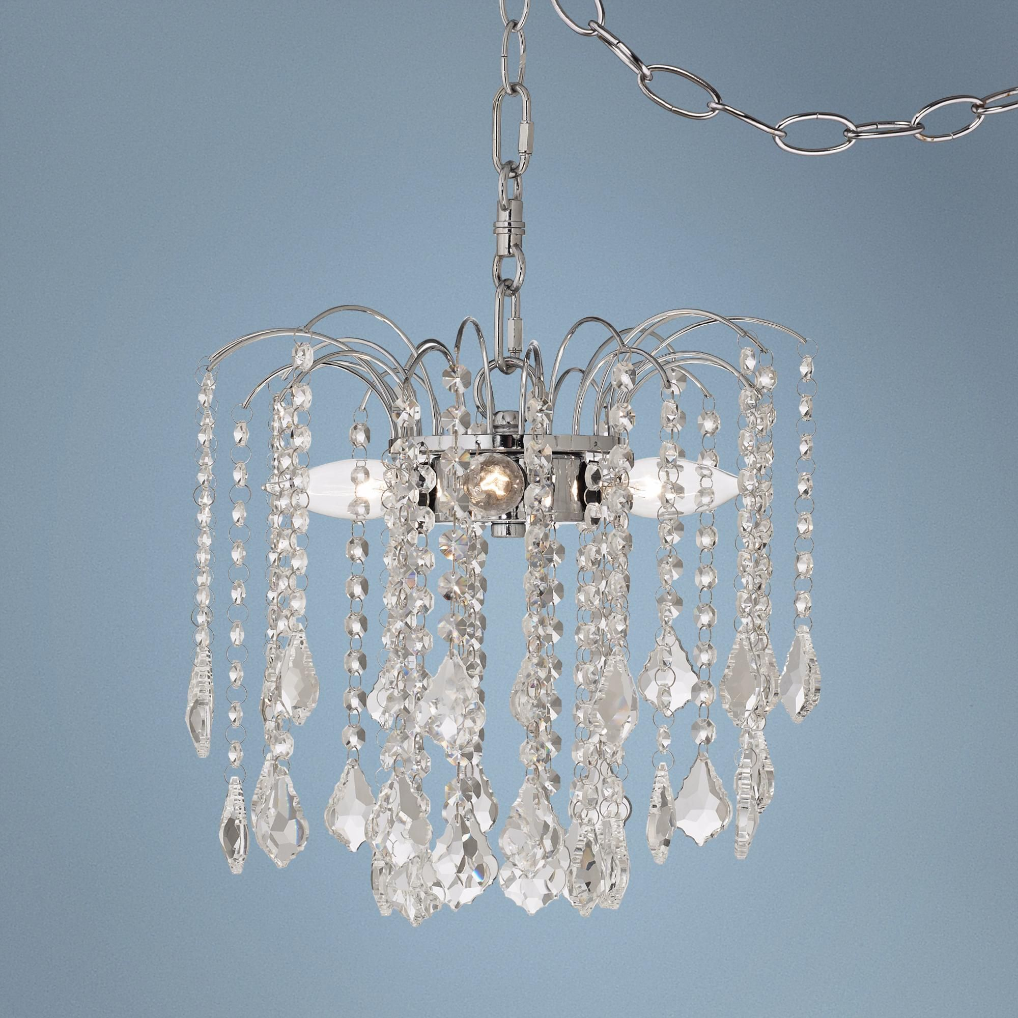 "Nicolli Clear Crystal 12"" 4 Light Plug In Swag Chandelier"