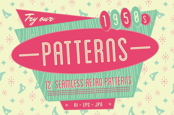 Check out 1950s Retro Seamless Patterns by wingsart on Creative Market