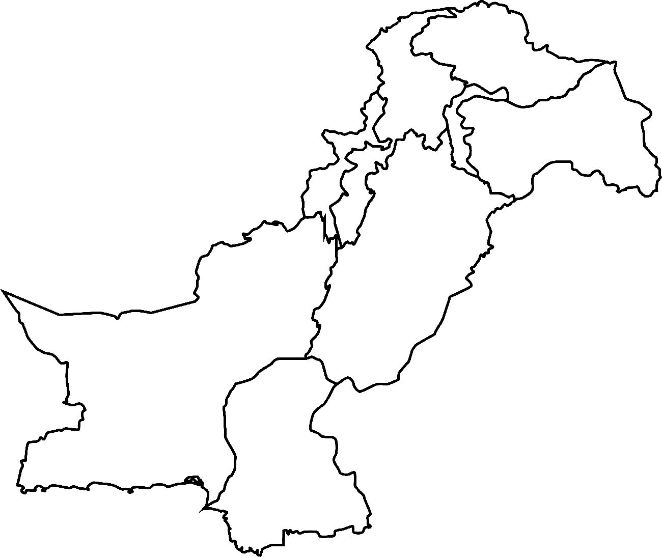 Pakistan Map Blank Pakistan full complete map with all states and provinces black