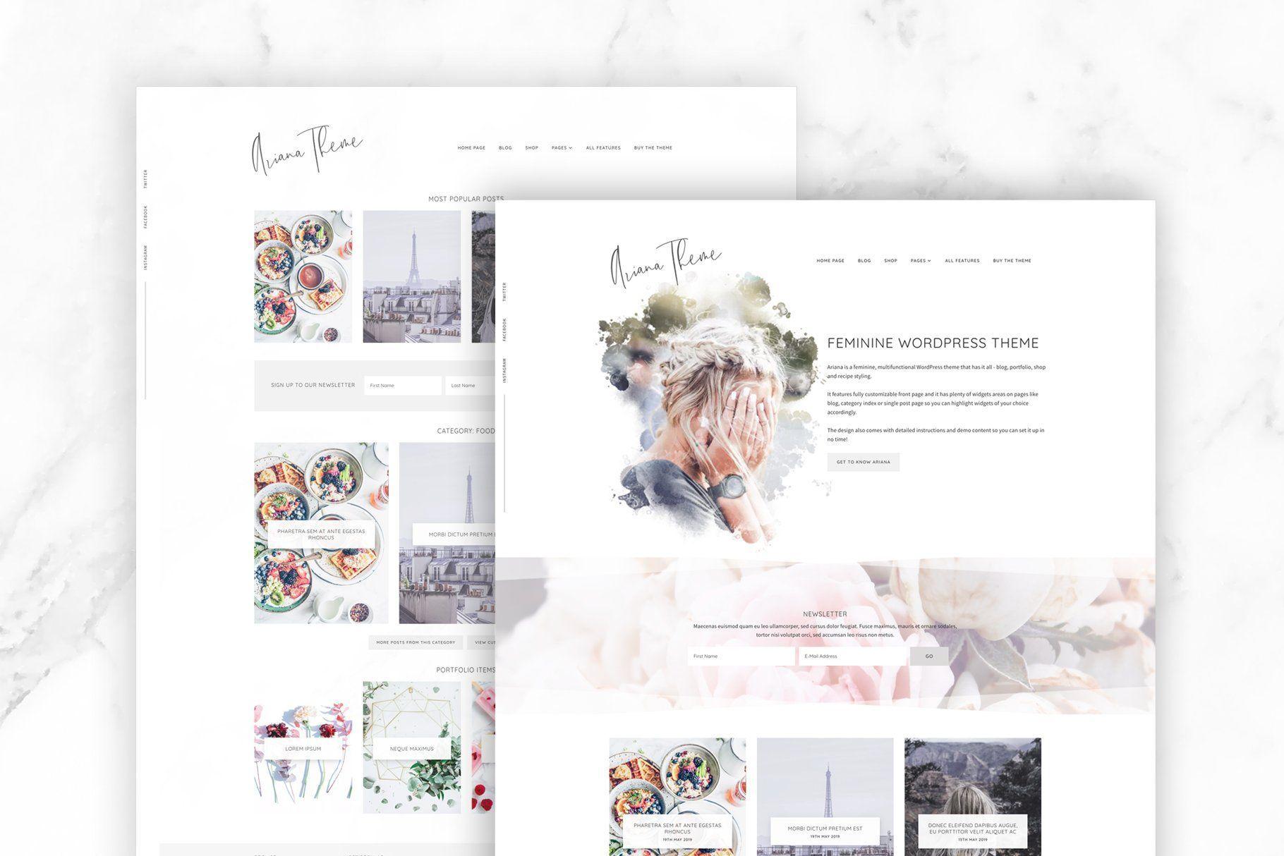 Ariana Feminine Wordpress Theme Feminine Wordpress Theme Wordpress Theme Blog Themes Wordpress