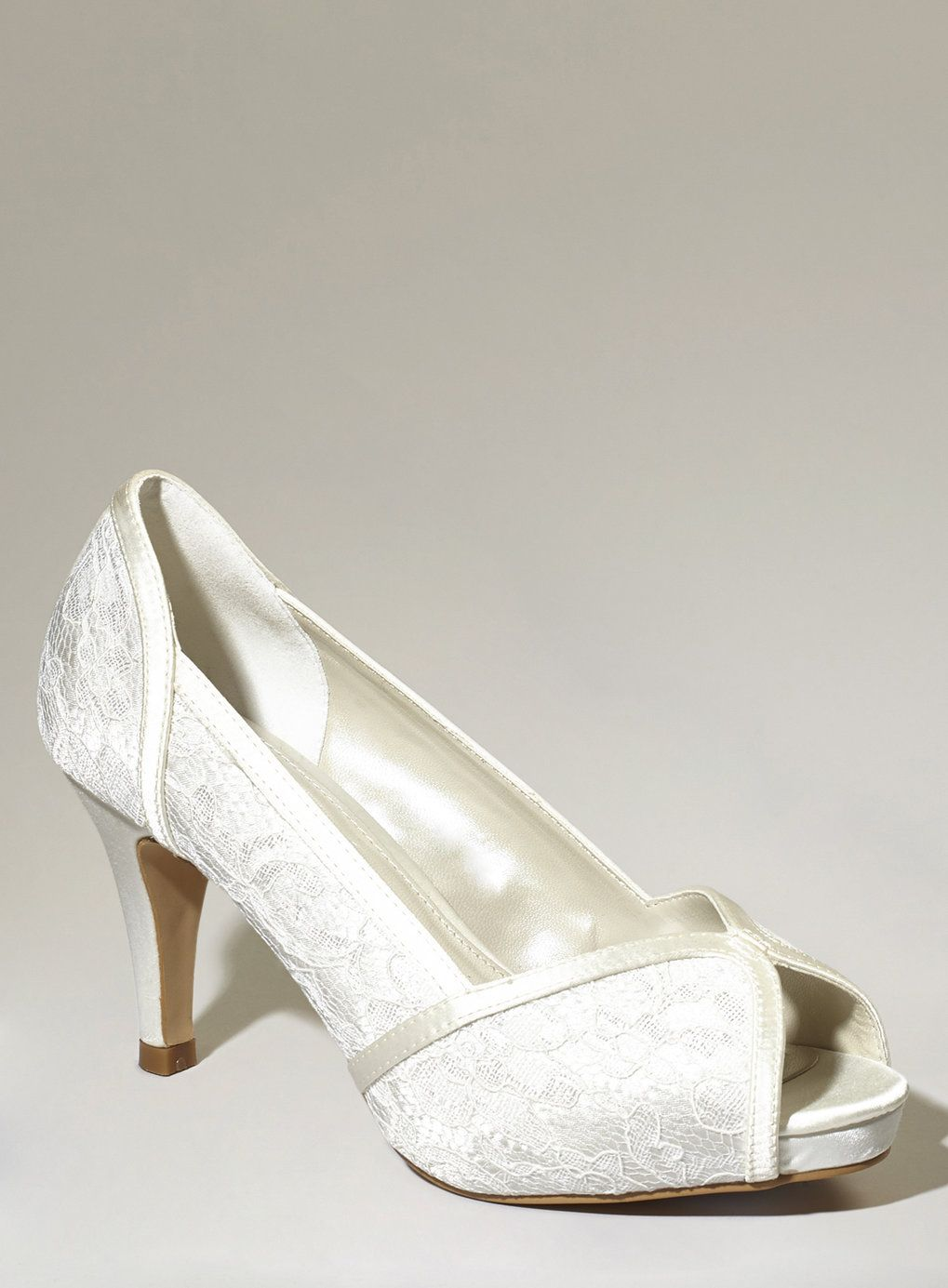 Ivory Fashion Wide Fit Da Vinci Lace P Toe Courts Bhs Court Heelssatin Shoesbridal