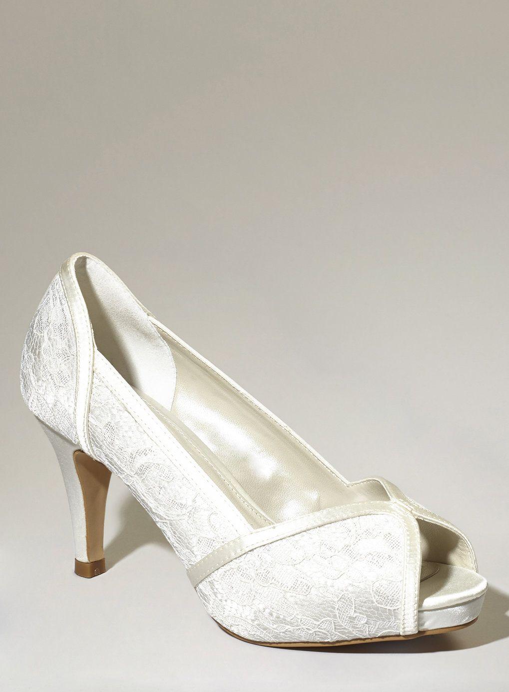 Ivory Fashion Wide Fit Da Vinci Lace Peep Toe Courts BHS
