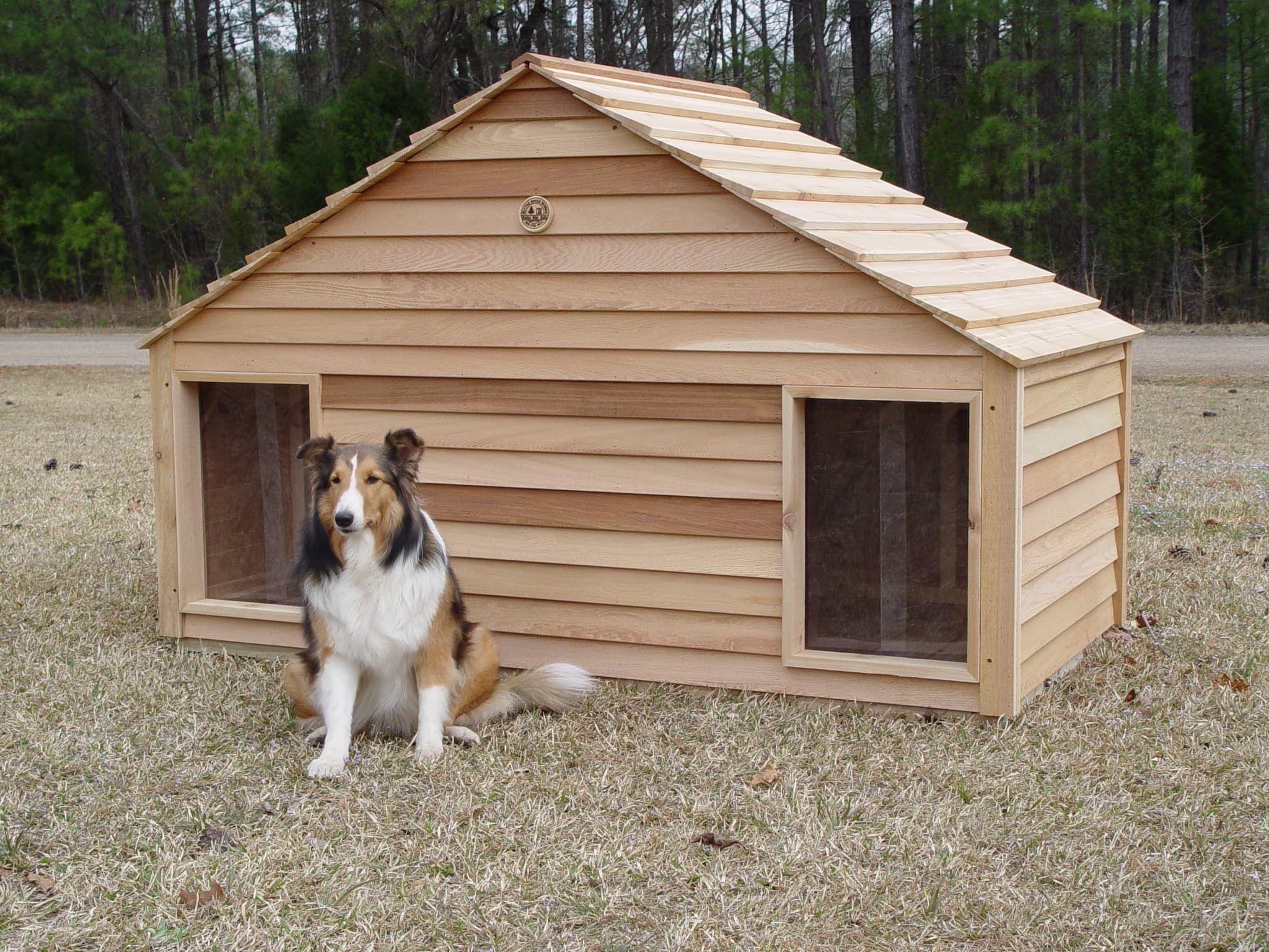 Large Duplex Two Door Dog House Custom Cedar Dog House Cool