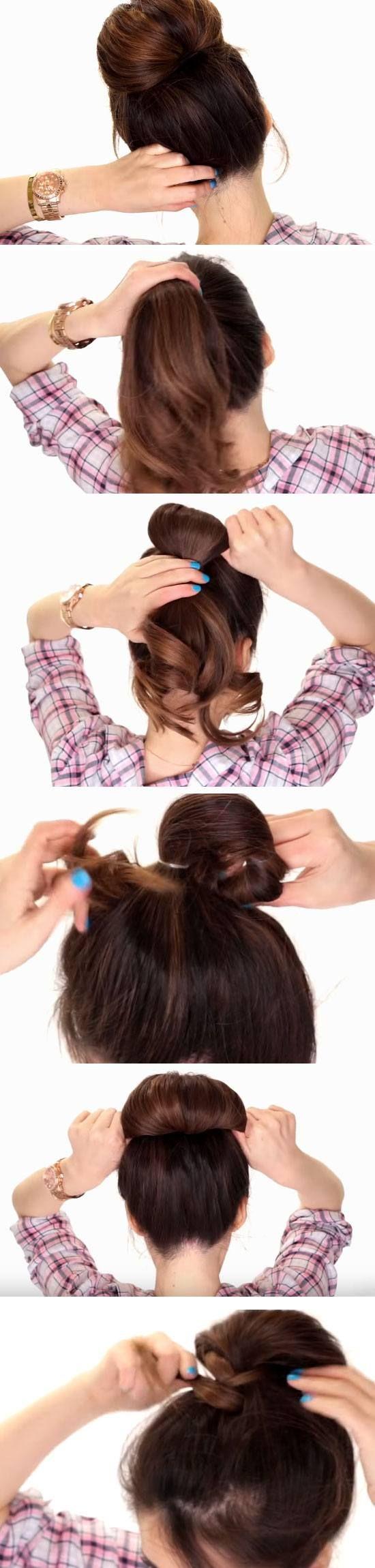 2 Minute Bubble Bun 18 Easy Fall Hairstyles For Medium Hair That Are Oh So Trendy Medium Hair Styles Medium Length Hair Styles Fall Hair