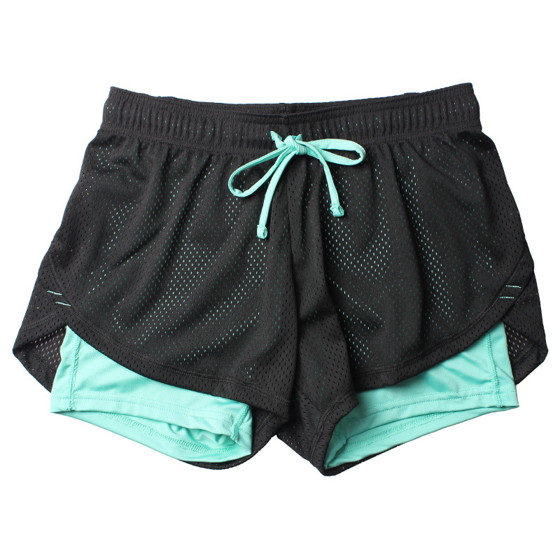 Double layer shorts, Yoga shorts women