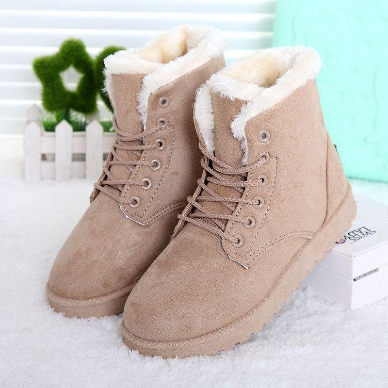 e44de723a9d Boots Female Lace Up Fur Ankle Boots Ladies Shoes Botas Femininas ...