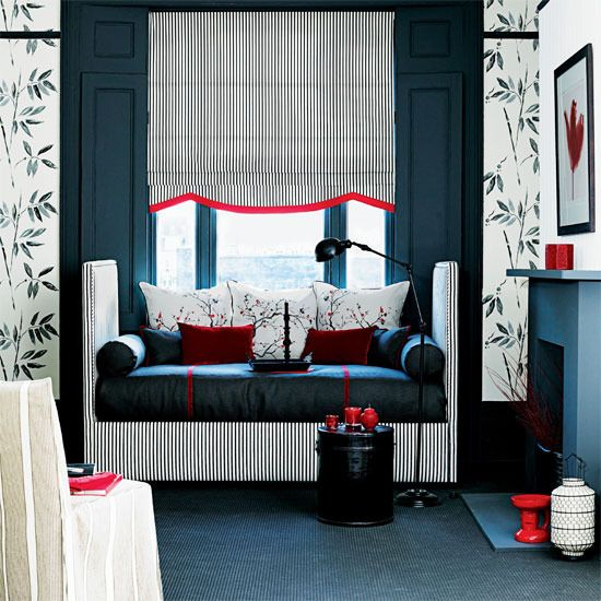 Striped Upholstered Daybed, Stripes, Black Floor Lamp
