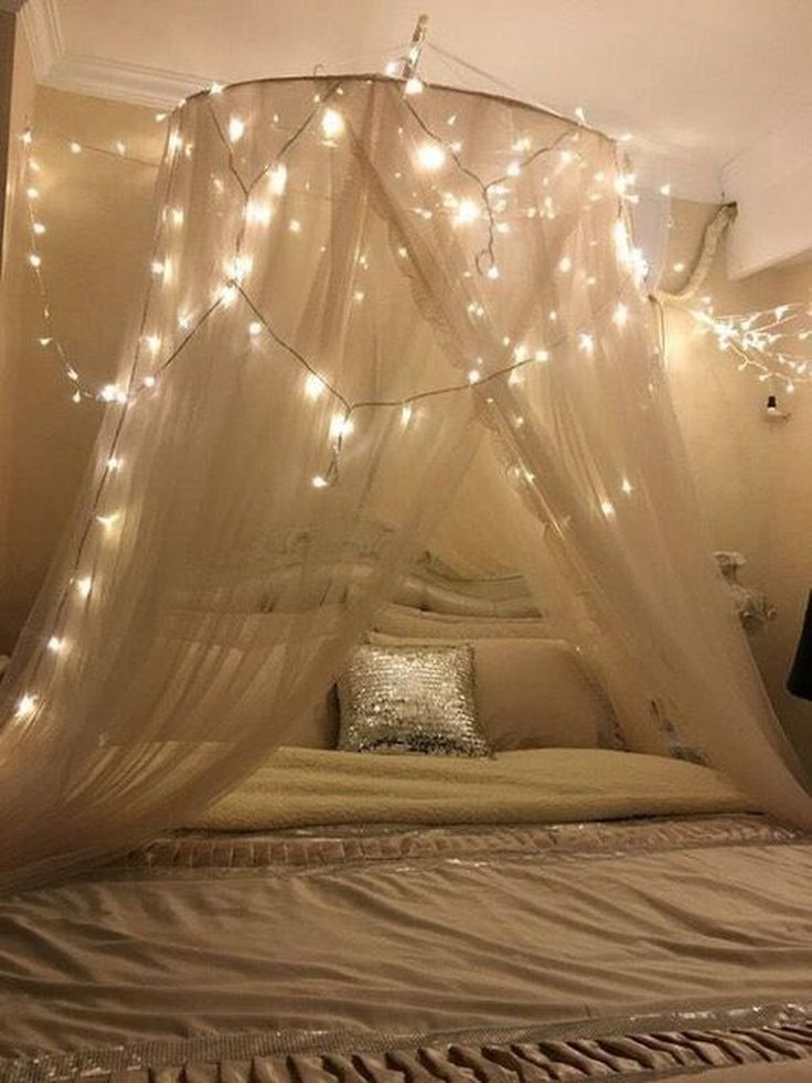 50 Beautiful Canopy Bed With Lights Design Ideas To Look Romantic images