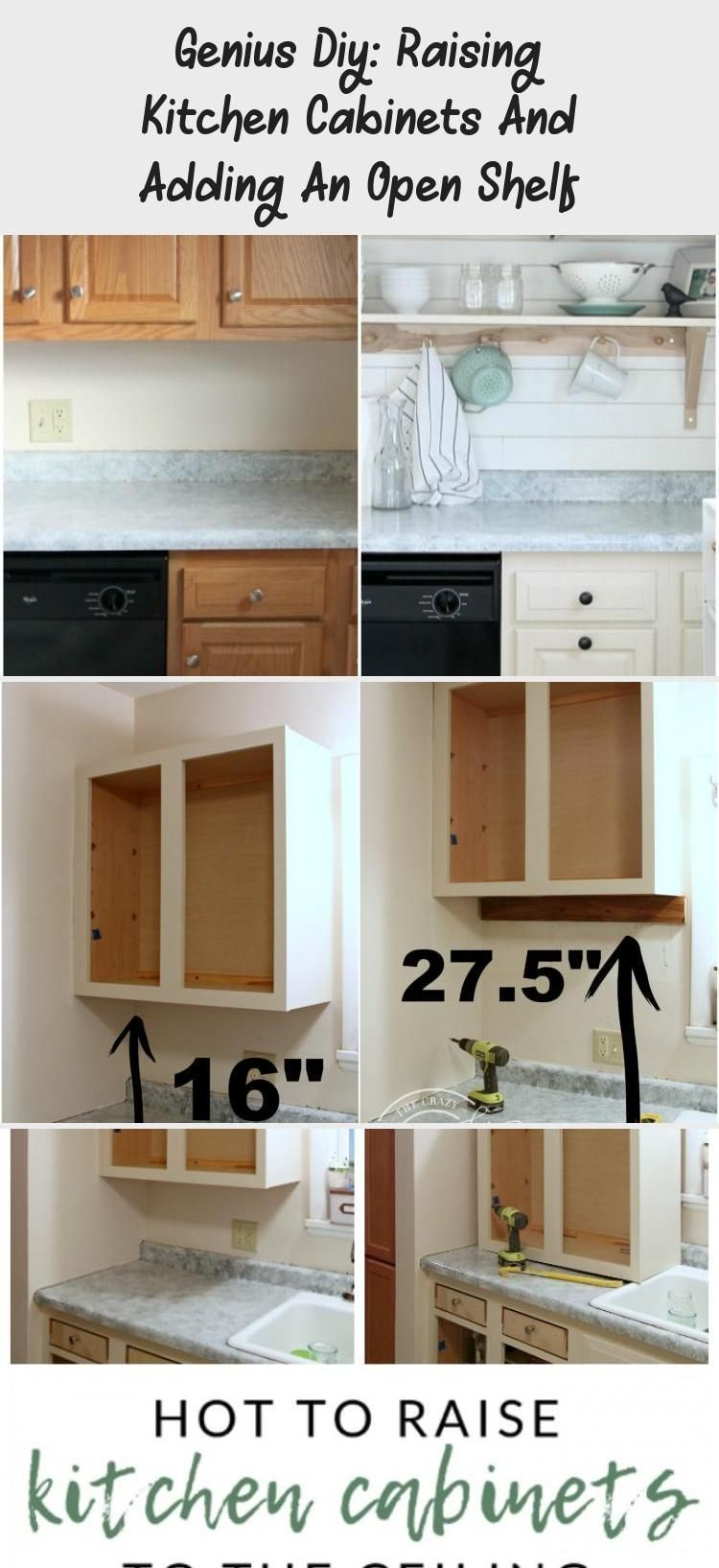 Genius Diy Raise The Kitchen Cabinets And Add An Open Shelf Decor Add Cabinets Cheapkitchencabinetsbudget C In 2020 Shelves Shelf Decor Kitchen Storage Shelves
