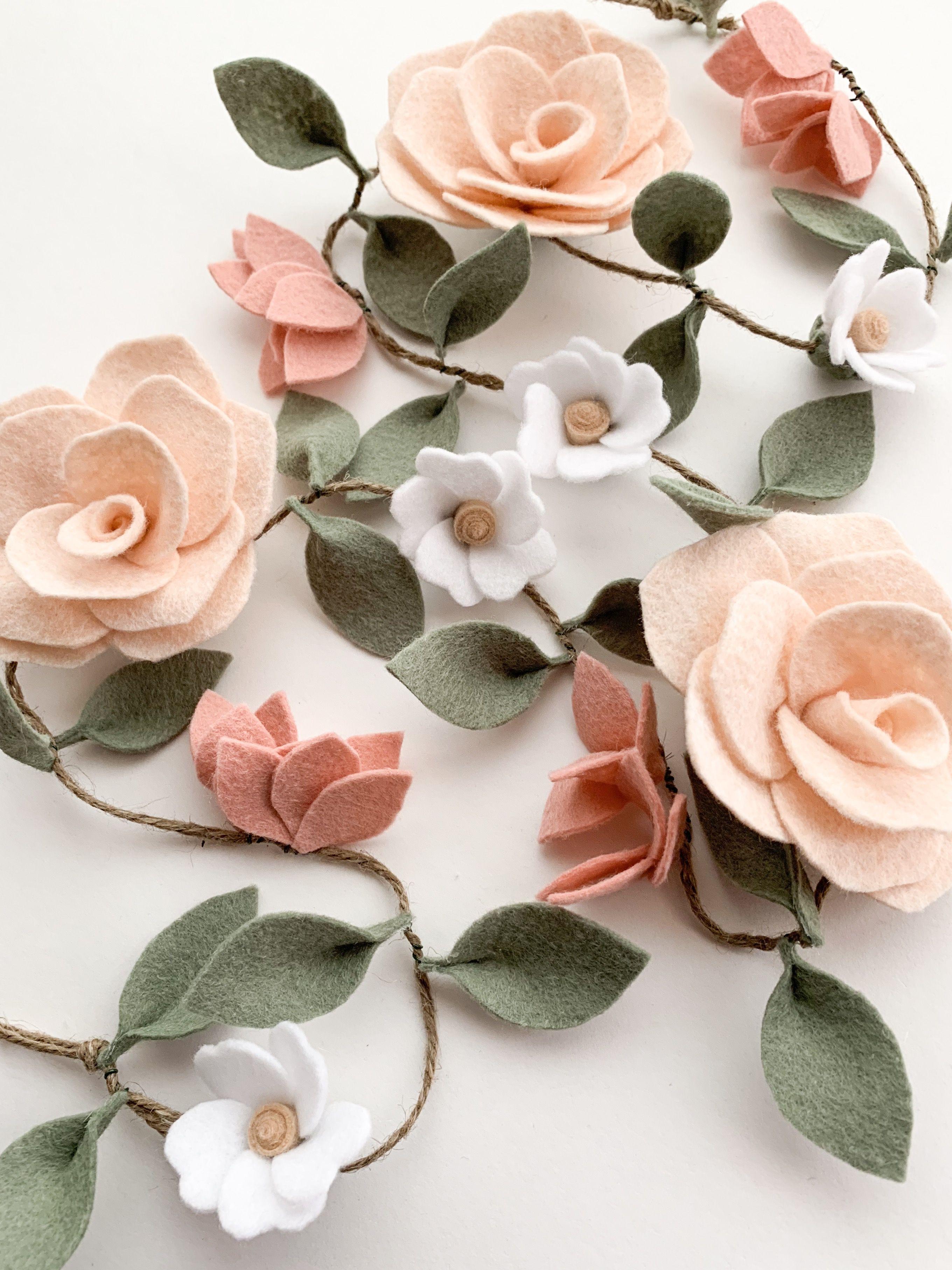 Wildflower Garland Felt Flower Garland Flower Crafts Felt Crafts Diy