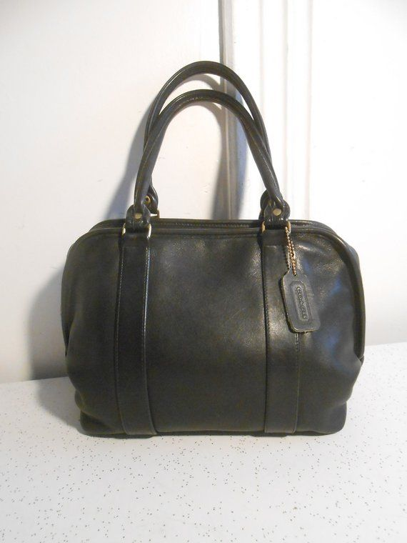 6a2347eb0e38 Vintage Authentic Rare Coach Satchel Bag Black Leather Coach Doctor Bag  Zippered Top Coach Bag with