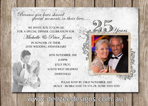 Photo Personalised 25th Wedding Anniversary By Deezeedesign Wedding Anniversary Invitations Anniversary Party Invitations 25th Wedding Anniversary Invitations