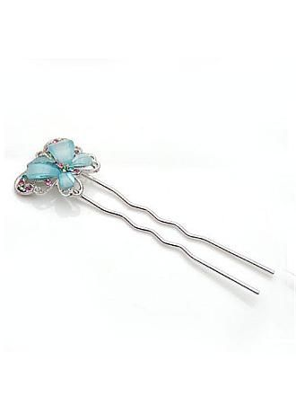 Romantic Butterfly Hair Stick Alloy Rhinestone PaleTurquoise