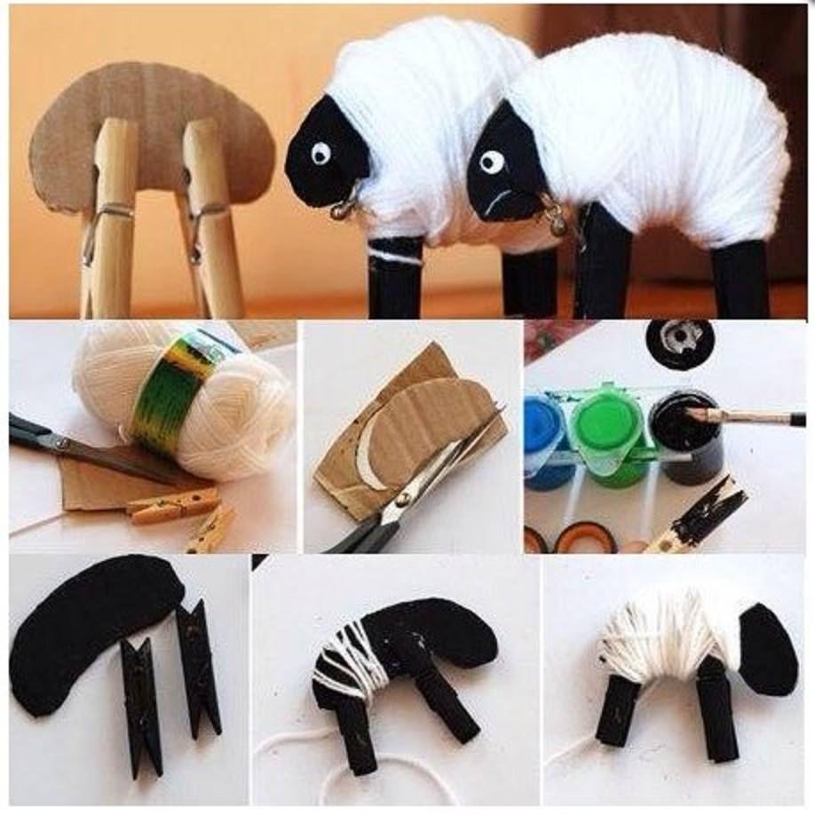 Make A Sheep Using Cardboard Clothespins And Thread