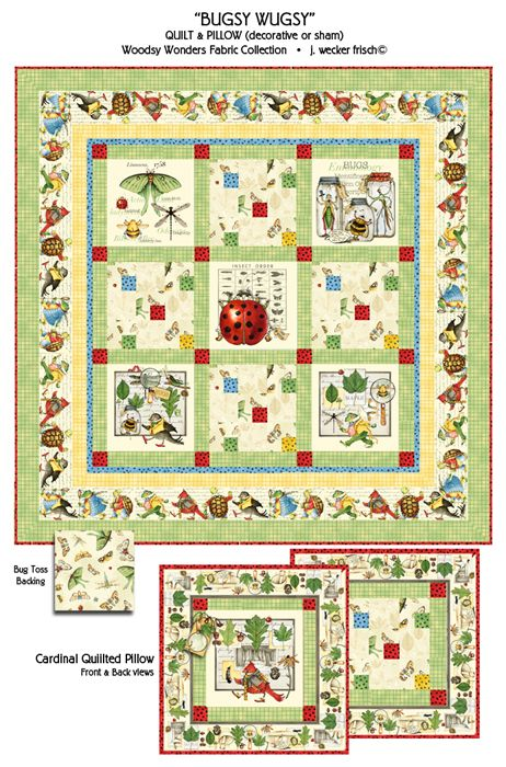 bugsy wugsy quilt woodsy wonders fabric by j wecker. Black Bedroom Furniture Sets. Home Design Ideas