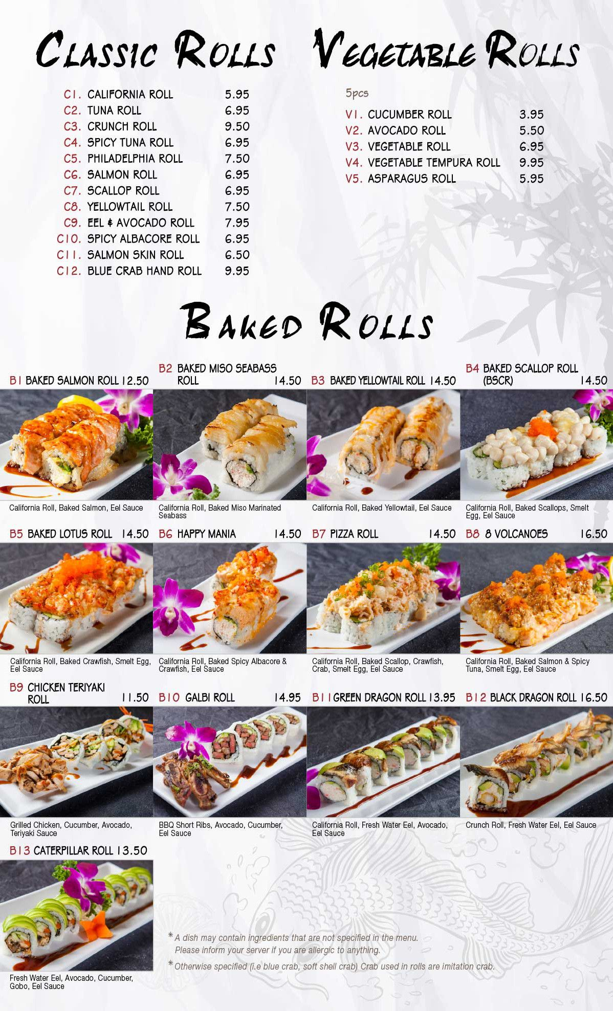 Main Menu Welcome To Mikomi Sushi Spicy Tuna Roll Avocado Roll Salmon Roll