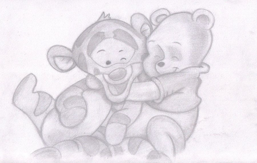 Drawing Of Baby Winnie The Pooh And Tigger By Sunny 3d Ramm On Deviantart Easy Drawings Drawings Disney Drawings