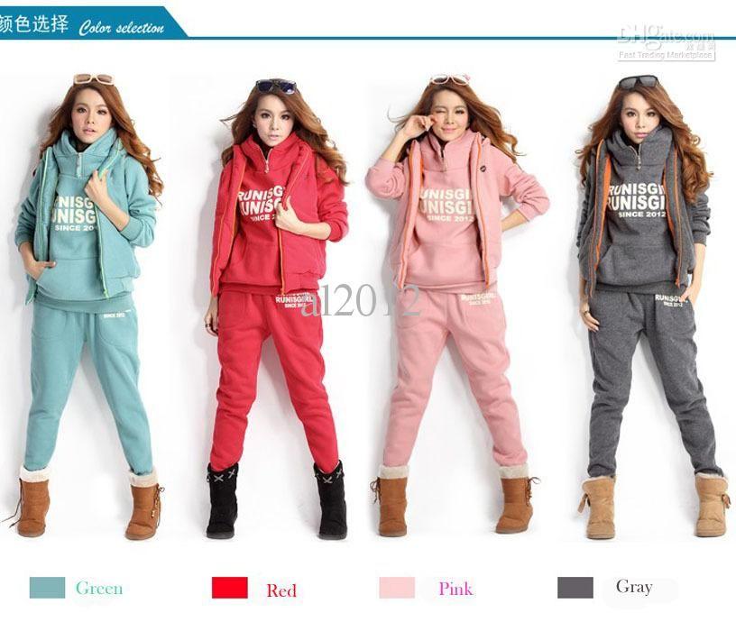 3PCS Winter Autumn Set Plus Size Women Tracksuit Hoodies Tops Coat Pants Trouser