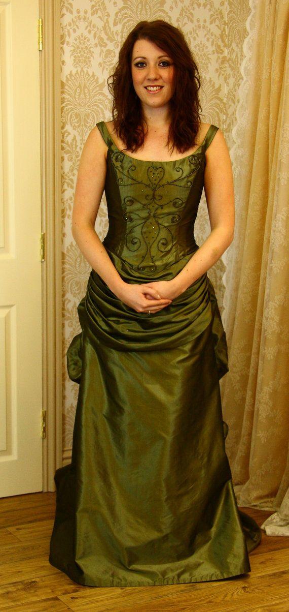 Victorian style green bridal gown, Steampunk, alternative