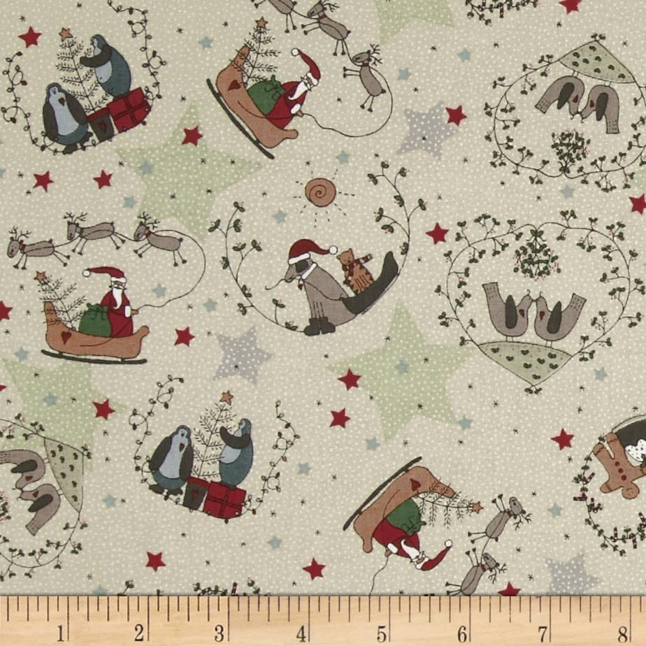 Starry Night Christmas Scenic Cream from @fabricdotcom  Designed by Lynette Anderson for RJR Fabrics, this cotton print is perfect for quilting, apparel and home decor accents.  Colors include dark cream, grey, soft black, dusty teal, green, maroon, tan and white.