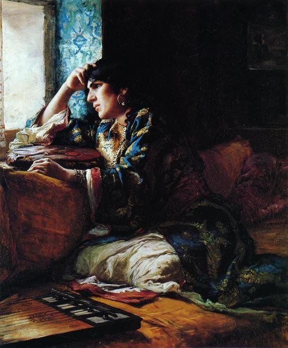 Aicha, a Woman of Morocco, Oil by Frederick Arthur Bridgman (1847-1928, United States)