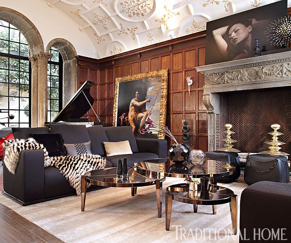Large Scale Art Counters Modern Furnishings In This Showhouse Living Room.