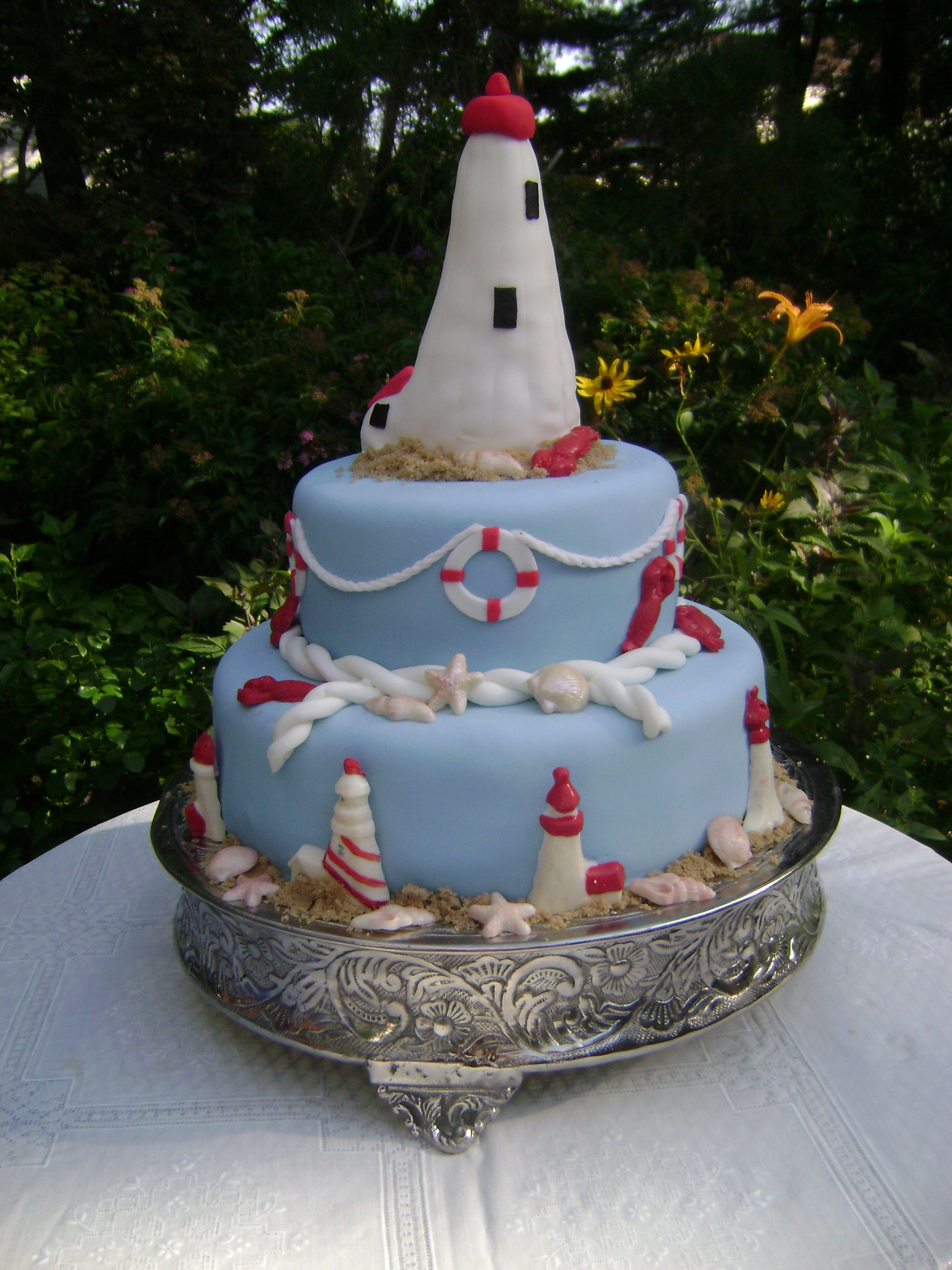 Lighthouse cake nautical themed cake for my dad 60th birthday