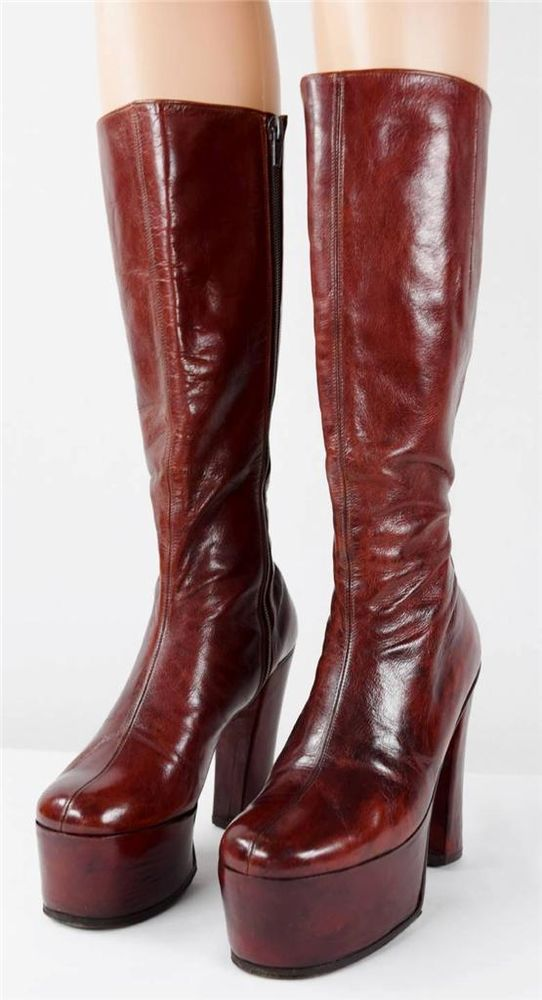 b7f637e029df43 Vtg 1970 s Women s IcOniC HUGE PLATFORM Brown Leather HiPPiE BoHo DiScO  BooTs 7  Nomakersmark  Boots