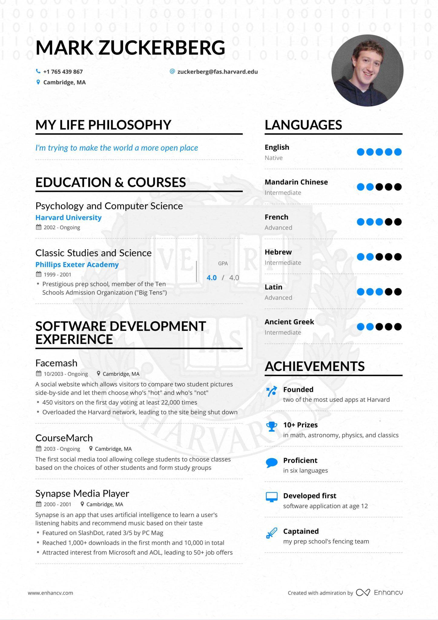 To Biografiko Toy Mark Zuckerberg Xwra Se 1 Selida Kai Einai Isws To Teleio Sthsimo Eikona It S P Infographic Resume Resume Examples Civil Engineer Resume