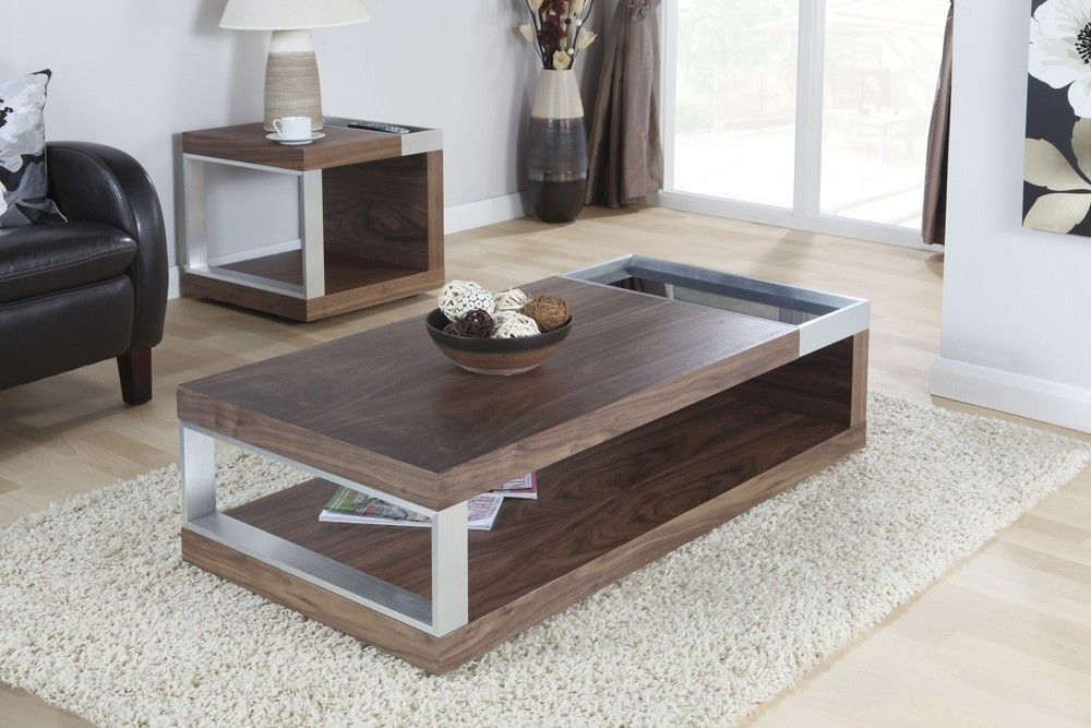This Modern And Elegant Coffee Table Is Finished In An Attractive Walnut  Veneer With Aluminium Legs And A Handy Toughened Safety Glass Cut Out  Section Ideal ...