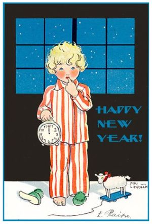New Year S Eve Content In A Cottage Vintage Happy New Year Vintage Cards Vintage Holiday Cards