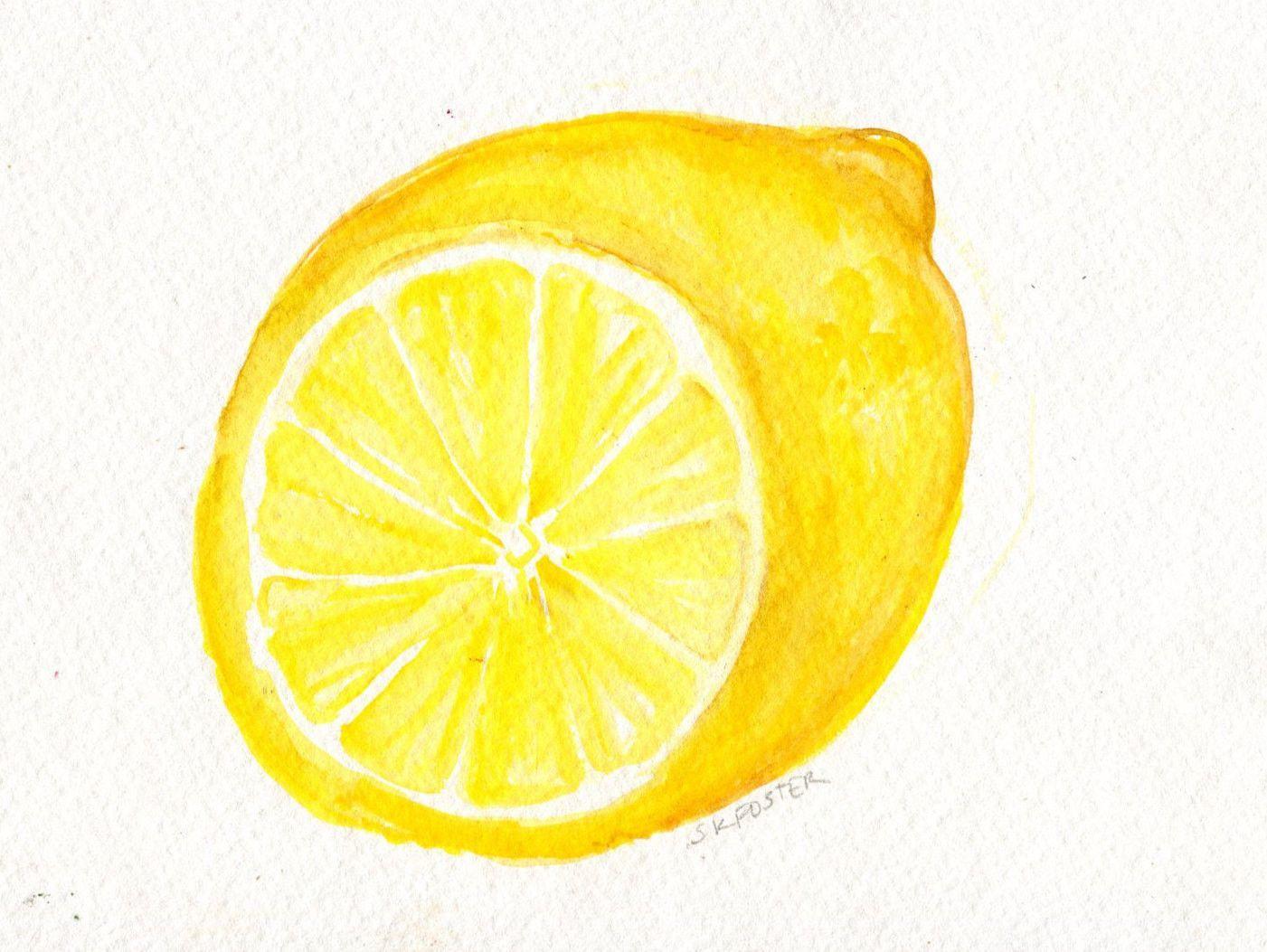 Lemon watercolor painting lemon painting artwork original lemon wall art lemon illustration 5 x 7 lemon kitchen decor modern minimalist