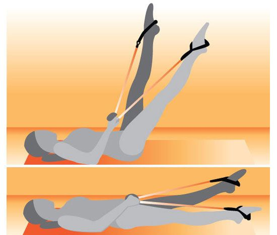 Flutter Kicks With Resistance Band: Sit on a mat or carpeted floor. Loop one handle of the resistance band on either foot. Hold on to the middle of the tube with both hands and lie on your back. Draw your navel toward your spine and press your low spine into the floor to protect your lower back, then lift both legs up so they are almost pointing straight up toward the ceiling.Holding the band securely, scissor your legs up and down one at a time, starting with the left leg.