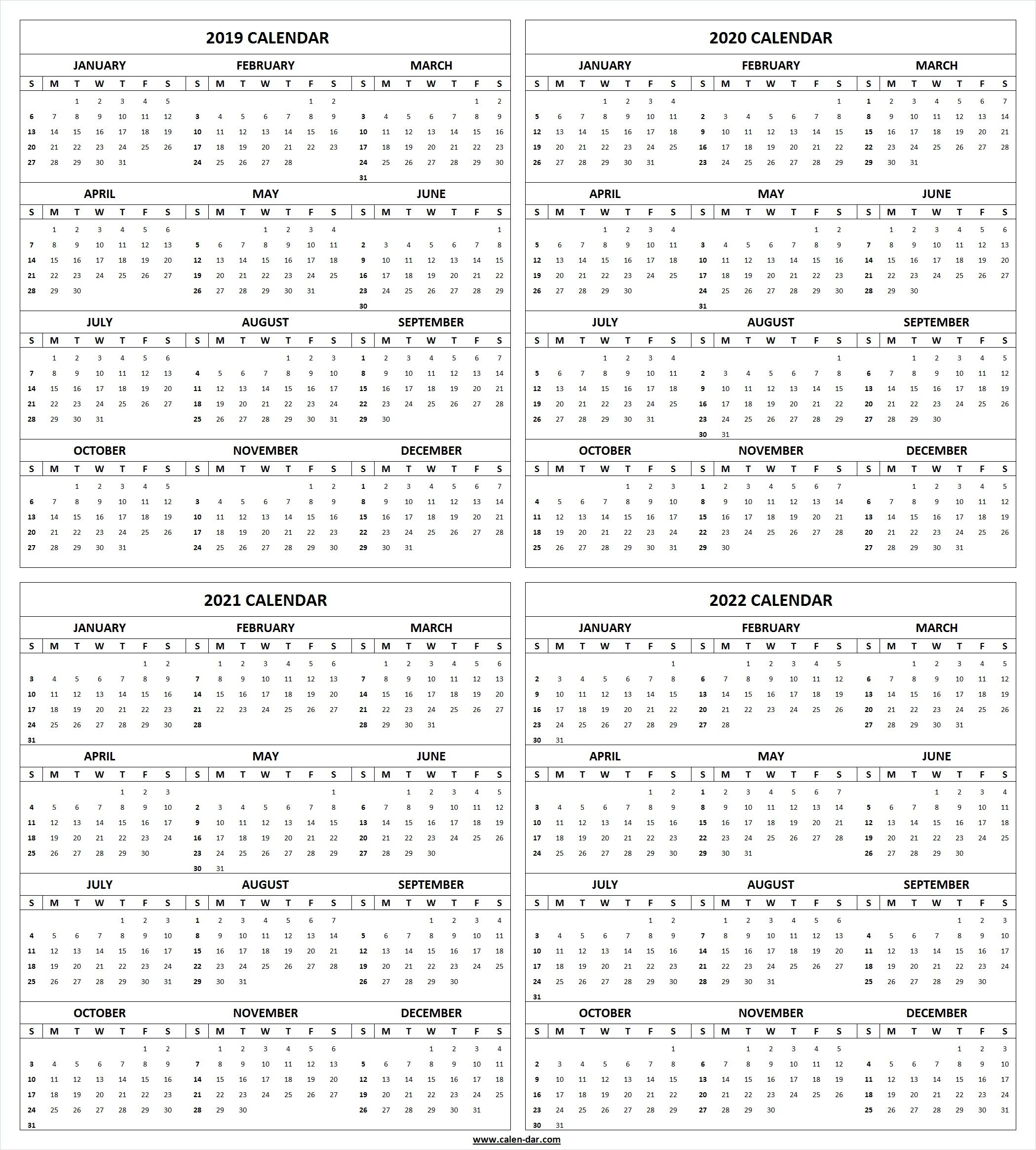 get free blank printable 2019 2020 2021 2022 calendar template these editable 4 four