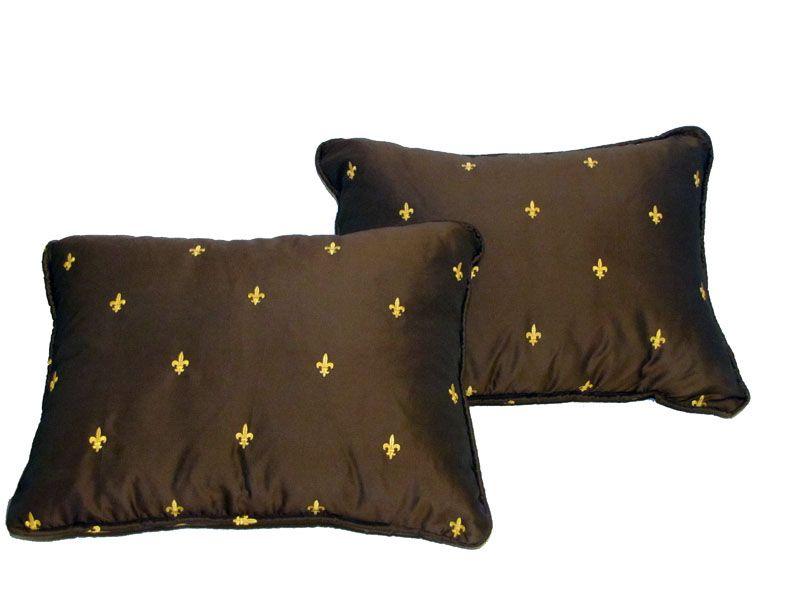 Chocolate fleur de lis lumbar pillows