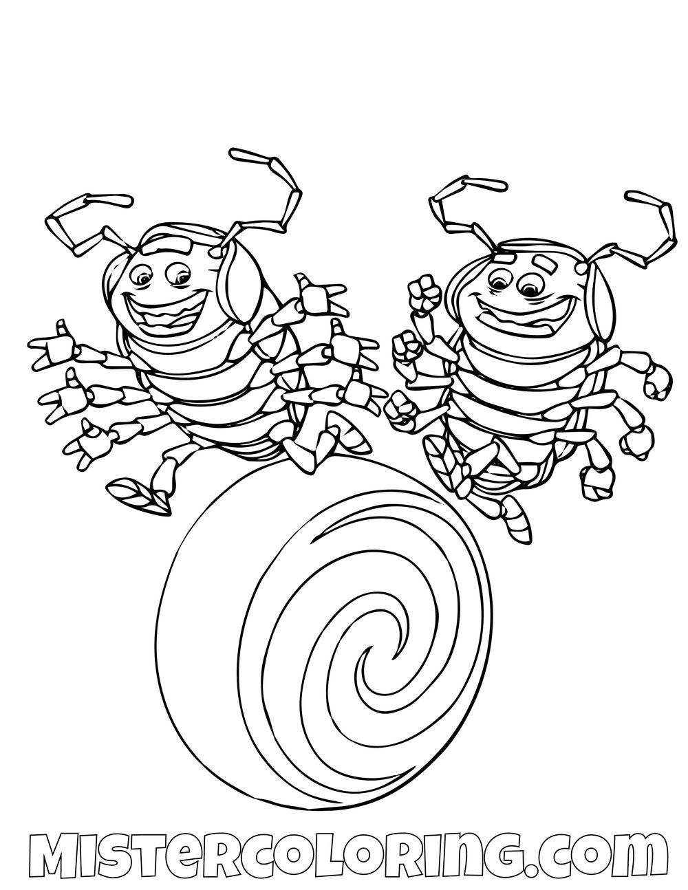 Tuck And Roll A Bugs Life Coloring Page For Kids Unicorn