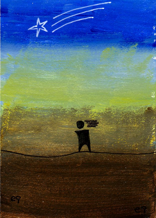 surrender e9Art ACEO Shooting Star Abstract Figurative Outsider Folk Art Brut Painting