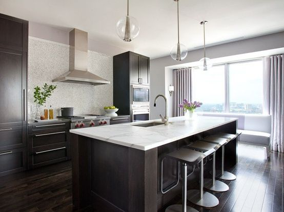kitchen idea 3 dark floors dark cabinets white counter gray