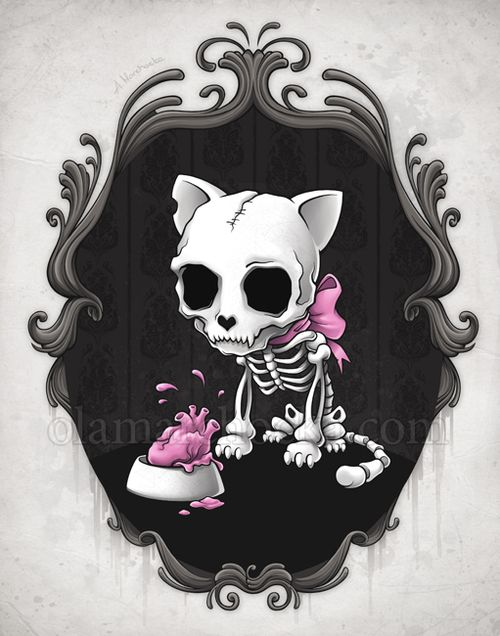 Cute Kitty Art Skull Art Cat Art