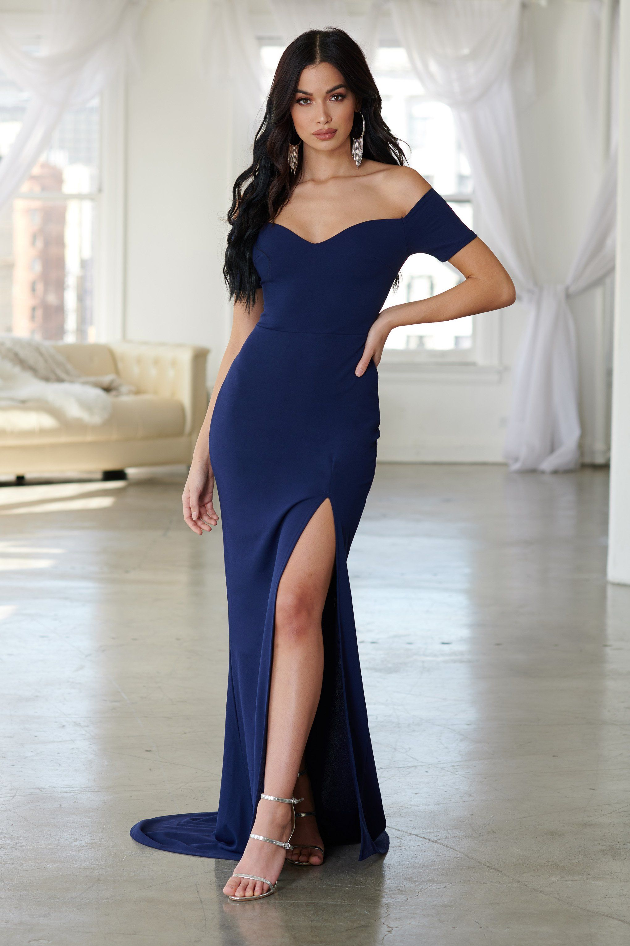 6e5cbc622856 Navy Bardot Thigh Split Maxi Dress in 2019 | Bellas hot 3 | Fishtail ...