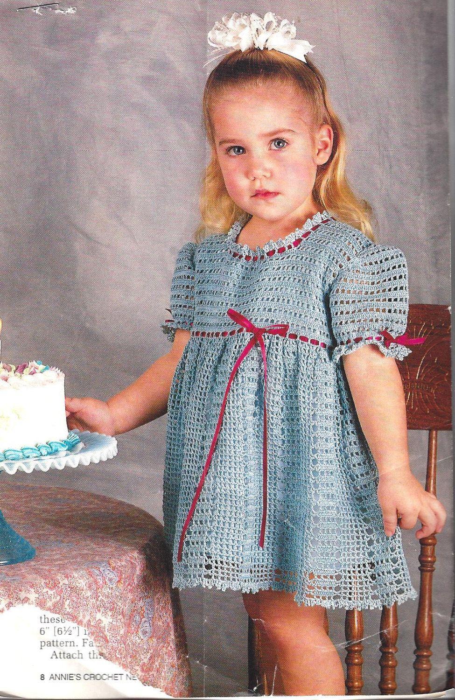 Crochet Pattern Toddler Child Precious Girls Dress in Thread sz 19 ...