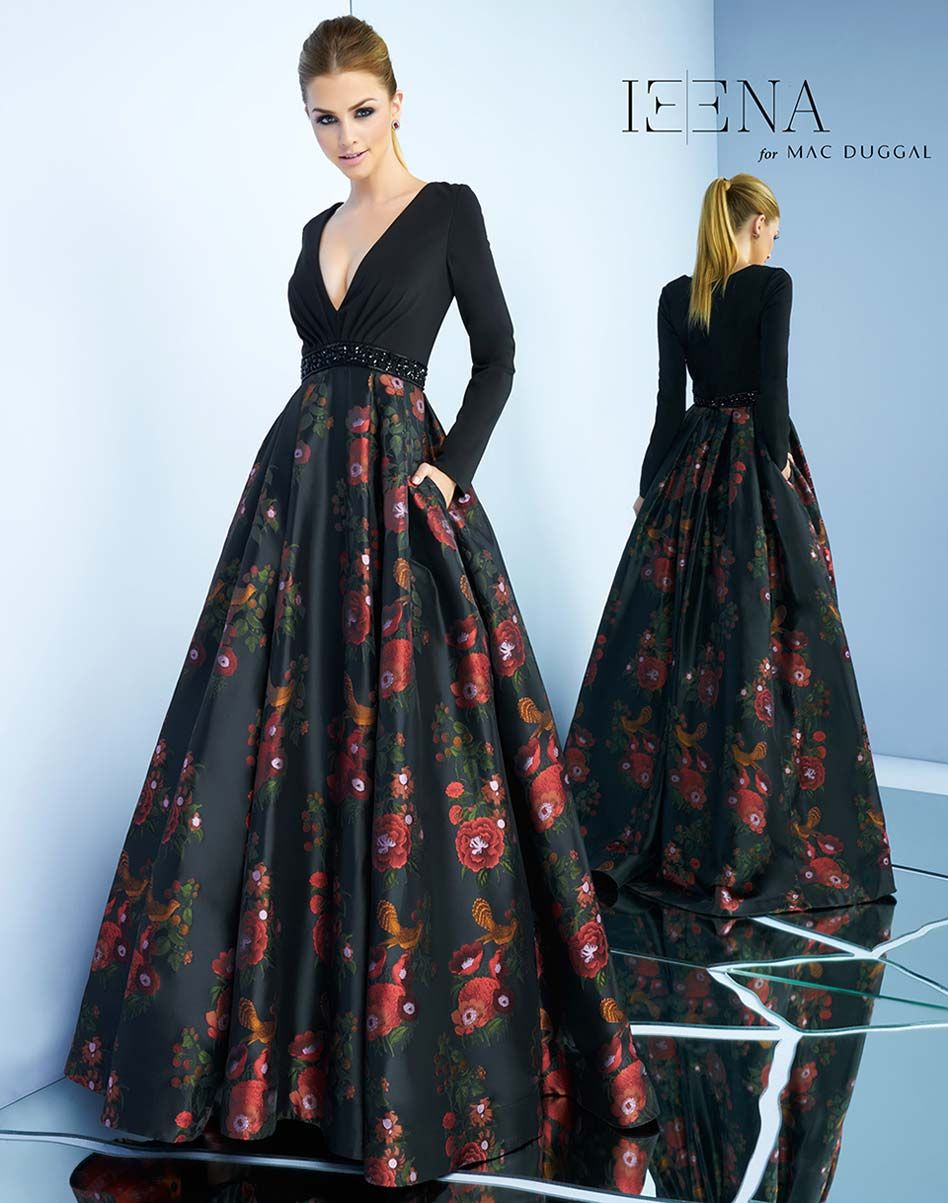 Long sleeve ball gown with vneckline printed skirt and beaded belt
