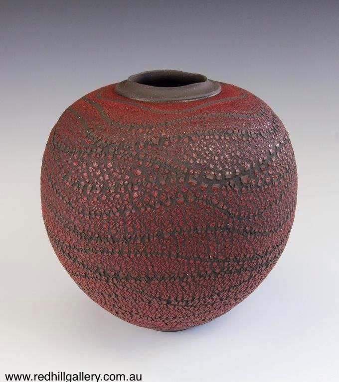 Bill Powell 'Gloss Red Textured Blossom Vase' 28x30cm. 61 Musgrave Road, Red Hill Brisbane, QLD, Australia. art@redhillgallery.com.au