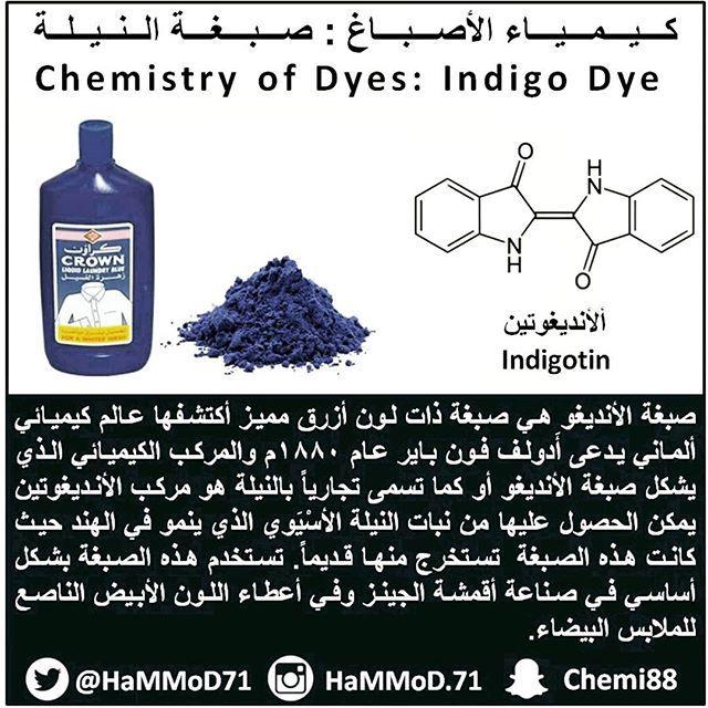 صبغة النيلة أحد أشهر الأصباغ تستخدم في جعل الملابس بيضاء ناصعة كيمياء معلومات كيميائية Chemistry Infographic Design صور Indigo Dye Indigo Chemistry