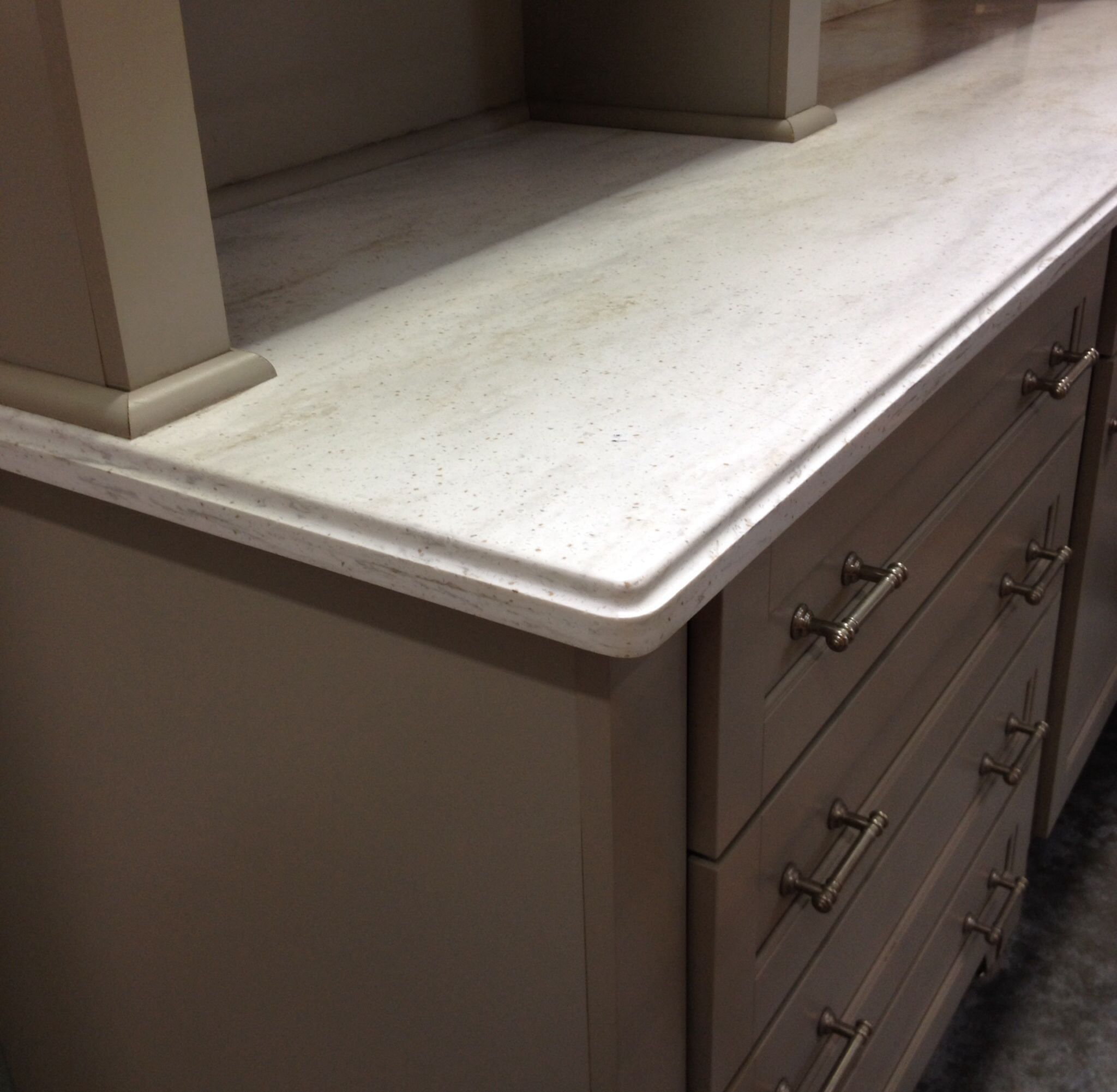 Corian countertop with lg ogee edge sea salt home depot for Corian countertops