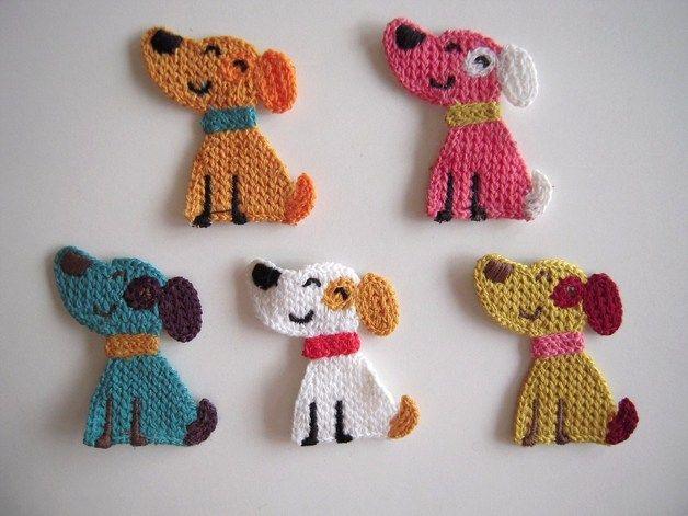 Amigurumi Lion Perritos : De punto applique 5 crochet apliques pequeño sonriente perros un
